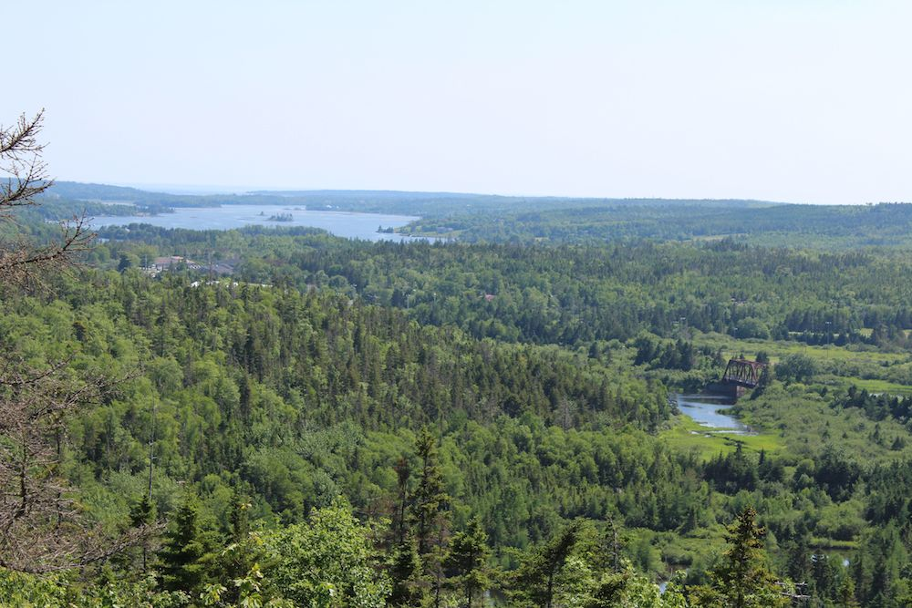The historic Musquodoboit Railway trestle and Musquodoboit Harbour, as viewed from the Admiral Lake Trail.