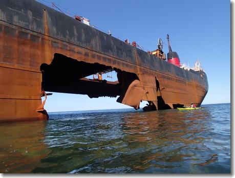 The MV Miner is disintegrating off Scatarie Island. Photo: http://www.coastaladventures.com