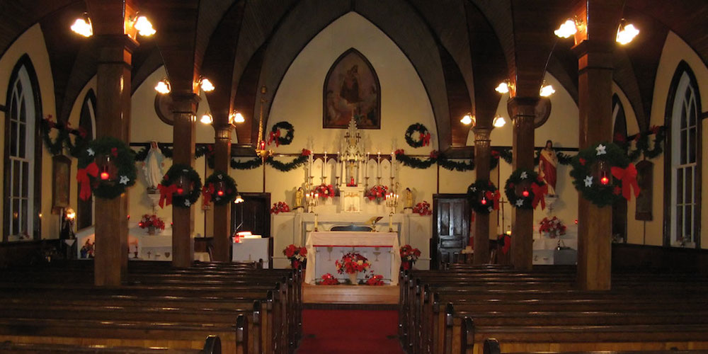 The interior of Our Lady of Mount Carmel Church. Photo by Barry Coolen, via Nathaniel Smith's site, http://prospectvillage.ca.