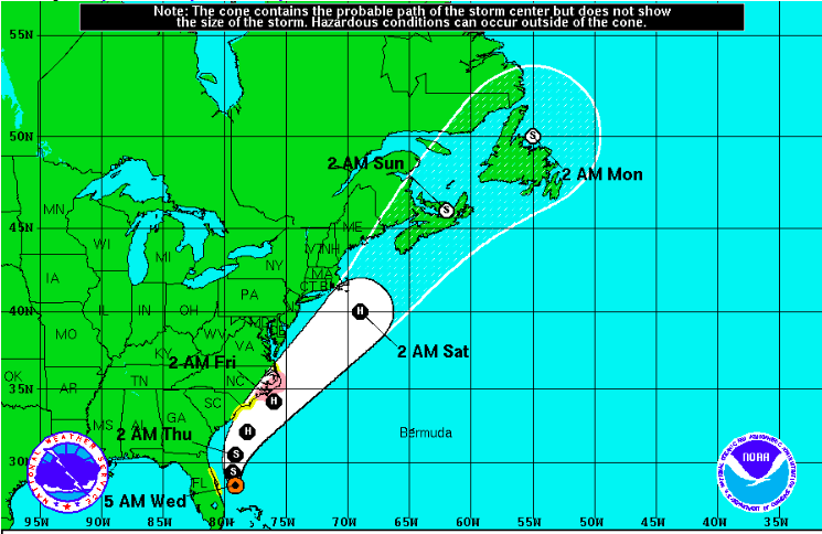 NOAA predicts the path for Tropical Storm Arthur