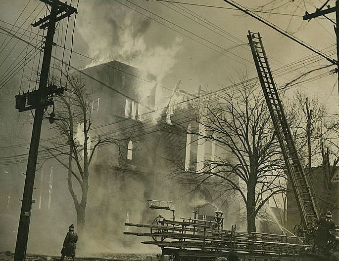 The Labour Temple fire, 1945. Photo: NS Archives