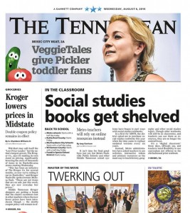 The Tennessean ran a front page story about low prices at Kroger supermarket, an advertiser.