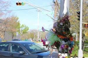The roadside memorial at Thistle Street and Victoria Road.