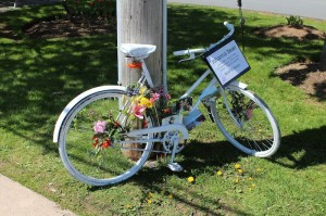 The ghost bike erected in memory of Johanna Dean.