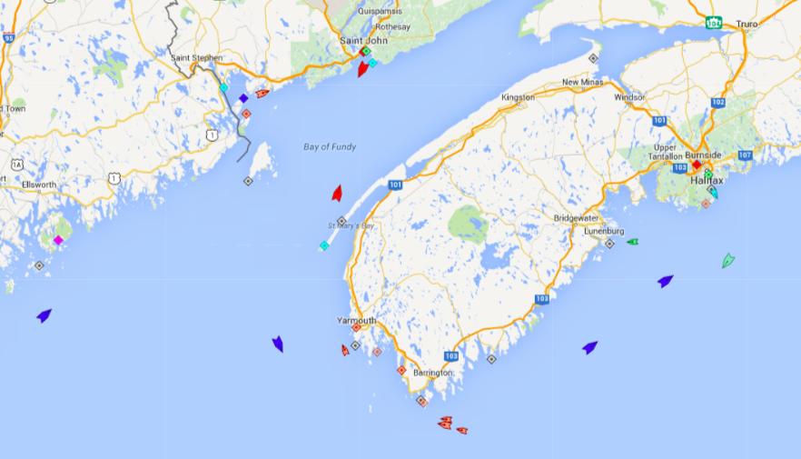 Ships around Nova Scotia at 6am this morning. Source: marinetraffic.com