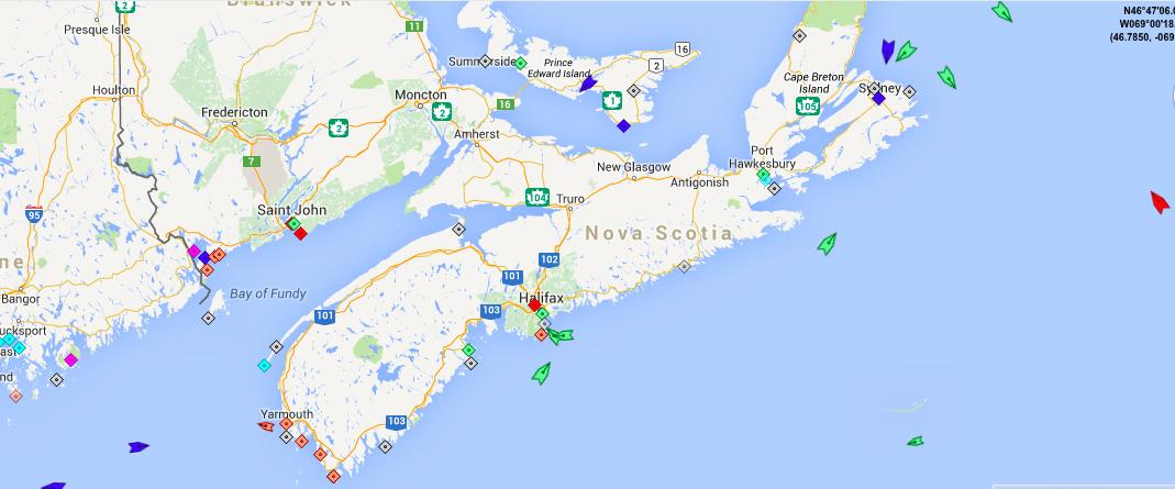 Sea traffic around Nova Scotia at 5:45am Friday. Map: marinetraffic.com