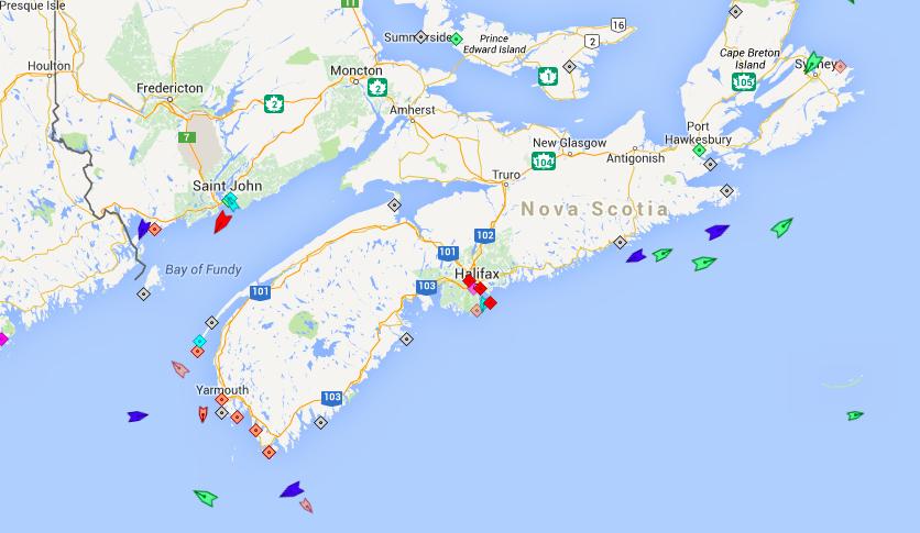 Ships near Nova Scotia this morning at 6:45am. Map: marinetraffic.com