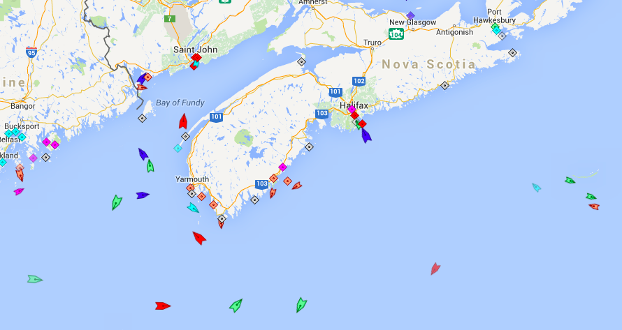 The seas around Nova Scotia, 6:20am Monday. Map: marinetraffic.com