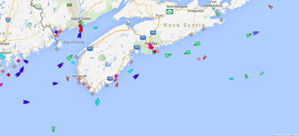 Sea traffic near Nova Scotia, 6am Tuesday. Map: marinetraffic.com