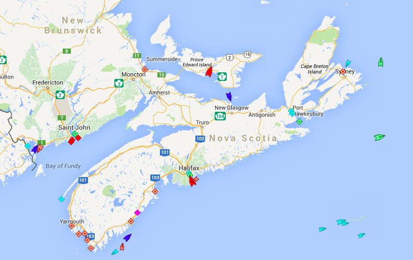 She seas around Nova Scotia, 7am, Saturday. Green ships are cargo vessels, dark blue are cruise ships, red are tankers, sky blue are tugs, orange are fishing boats. Map: marinetraffic.com