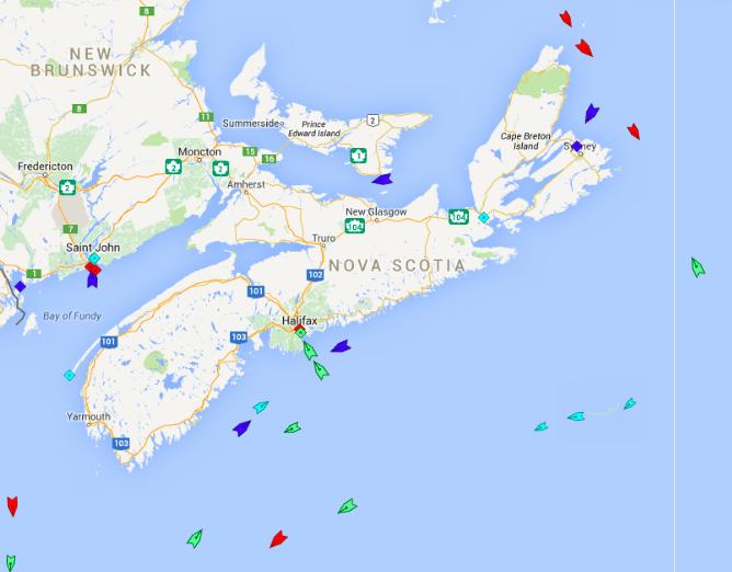 The seas around Nova Scotia, 5:45am Wednesday. Map:marinetraffic.com.