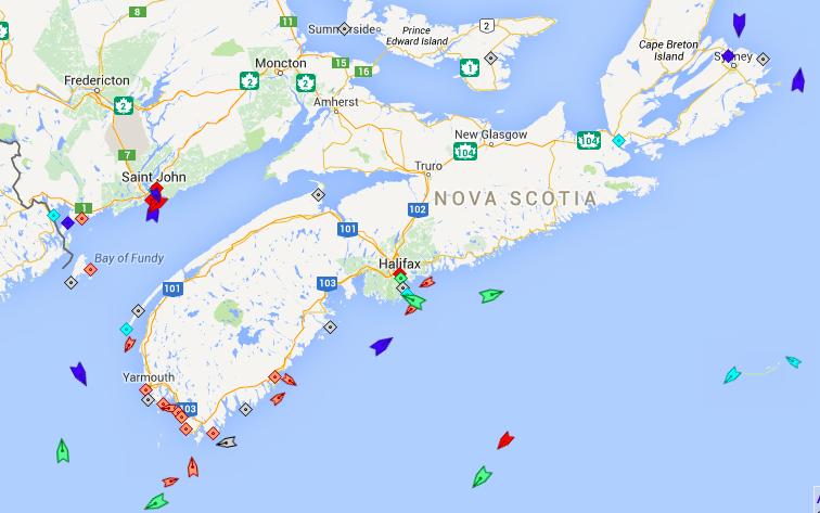 The seas around Nova Scotia, 6am Thursday.