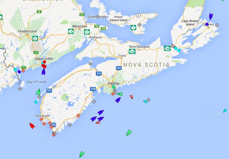 The seas around Nova Scotia, 6am Friday. Map: marinetraffic.com