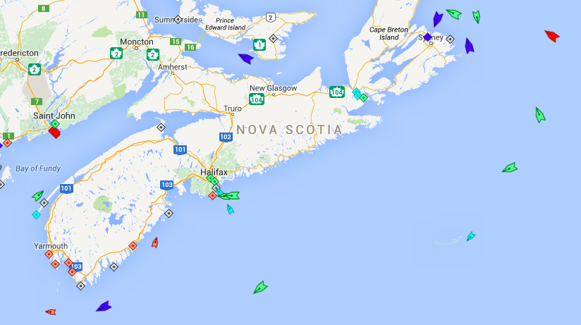 The seas around Nova Scotia, 6am Saturday. Map: marinetraffic.com