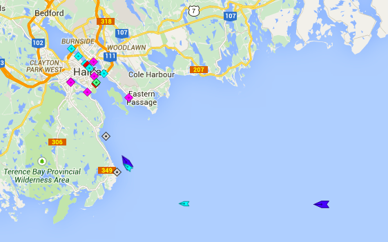 At 6am Friday morning, the Explorer of the Seas (dark blue) and its disgruntled passengers are approaching Herring Cove. The light blue boat attached to it is the Chebucto Pilot boat. To the east, also light blue, is the Coriolus II, a research vessel not coming to port. To the east of that, in dark blue, is the Eurodam, with presumably happy passengers.