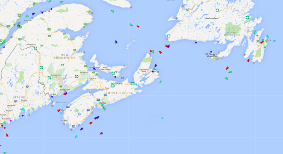 The seas around Atlantic Canada, 5:45am Wednesday. Map: marinetraffic.com