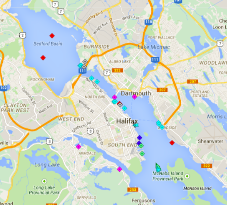 The port was still mostly asleep this morning at 6am, with two cruise ships (blue squares) and to container ships (light green) tied up at HalTerm, an oil tanker (red square) docked at Imperial Oil in Dartmouth, two tankers (also red squares) at anchor in Bedford Basin, and various tugs, personal yachts, naval vessels, and Coast guard ships docked along the rest of the waterfront. Only the OOCL Kaohsiung is moving, past , being pushed past McNabs Island by the tug Atlantic Oak. Map: marinetraffic.com