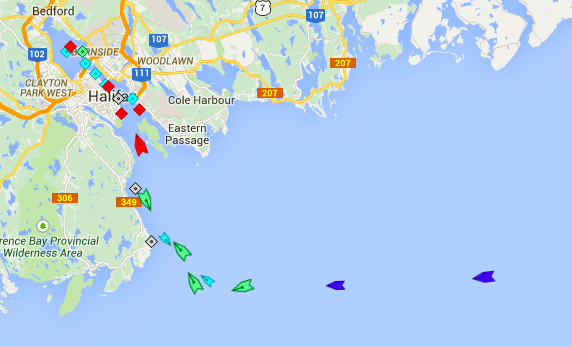 Ships heading into Halifax Harbour, 6am Saturday. Map: marinetraffic.com