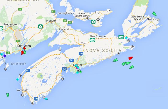 The seas off Nova Scotia, 6am Tuesday. Map: marinetraffic.com