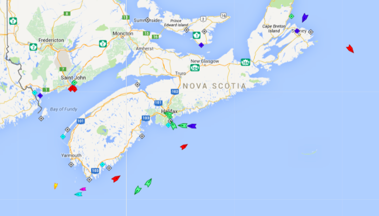 The seas around Nova Scotia, 5:45am Wednesday. Map: marinetraffic.com