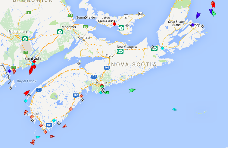 The seas off Nova Scotia, 5:45am Thursday. Map: marinetraffic.com