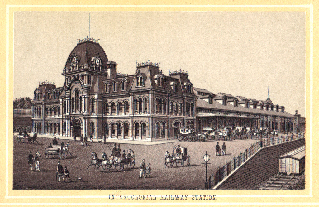 The Intercolonial Train Station was on Barrington Street, about where the abutment to the MacDonald Bridge now sits. It was badly damaged in the Explosion and never repaired.