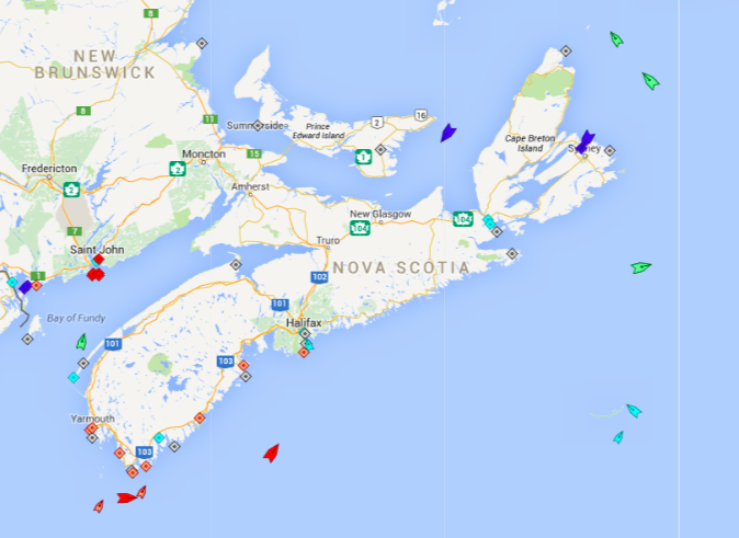 The seas around Nova Scotia, 6:30am Saturday. The orange squares along the south coast are fishing boats still in port. The red ships at sea further south are oil tankers—the Conti Guinea  heading to Halifax followed by the East Coast heading to Charlottetown. The green ships circling around Cape Breton Island are cargo ships heading to ports in Quebec and Newfoundland. The blue ships near Sydney are cruise ships. The light blue ships are survey and supply vessels working the Sable Island gas fields. Map: marinetraffic.com