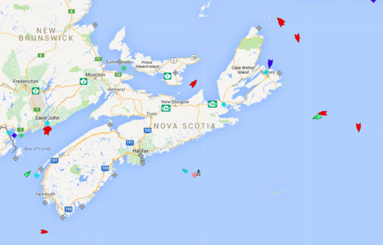 The seas around Nova Scotia, 6am Tuesday. All the oil tankers (red ships) in transit and at the refinery at Saint John may be  suggestive of the current turmoil in world oil markets. Map: marinetraffic.com