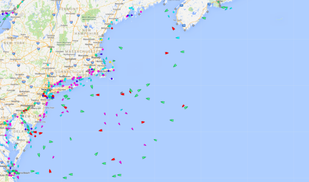 Ships in the North Atlantic, 5:30 Wednesday. Map: marintraffic.com