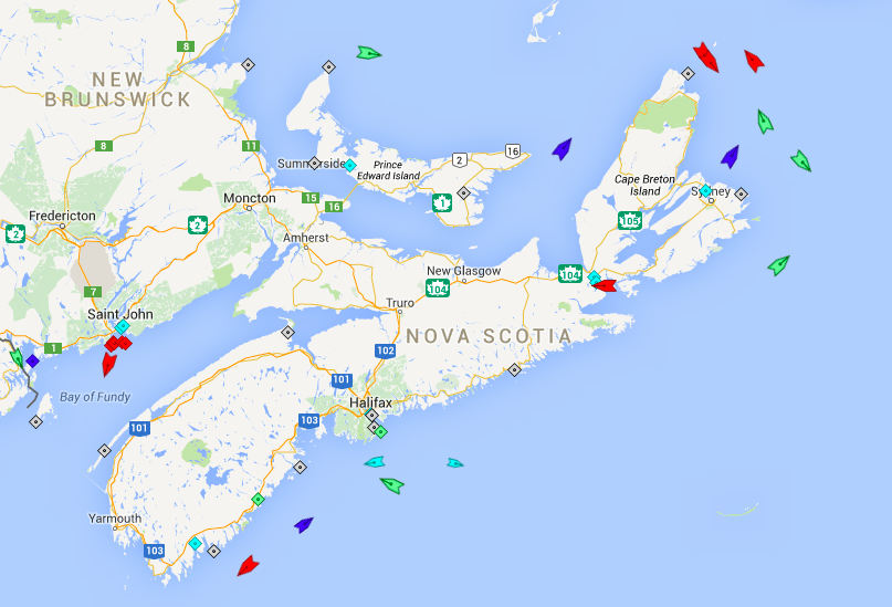 The seas around Nova Scotia, 1am Friday. Map: marinetraffic.com