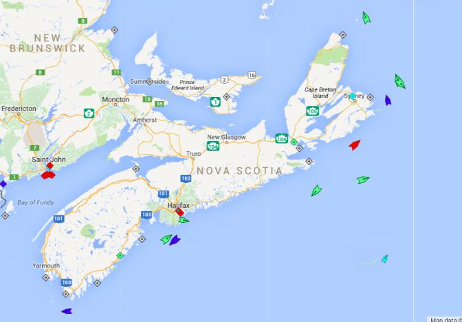The seas around Nova Scotia, 7:30am Saturday. Map: marinetraffic.com