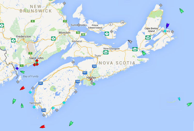 The seas off Nova Scotia, 6am Monday. Map:marine traffic.com