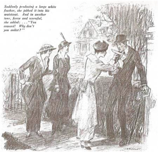 mage from 'The White Feather: A Sketch of English Recruiting' by Arnold Bennett, Collier's Weekly 1914.