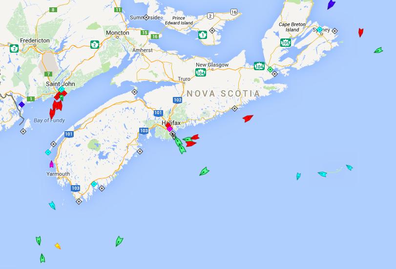 The seas around Nova Scotia, 5am Wednesday. Map: marinetraffic.com