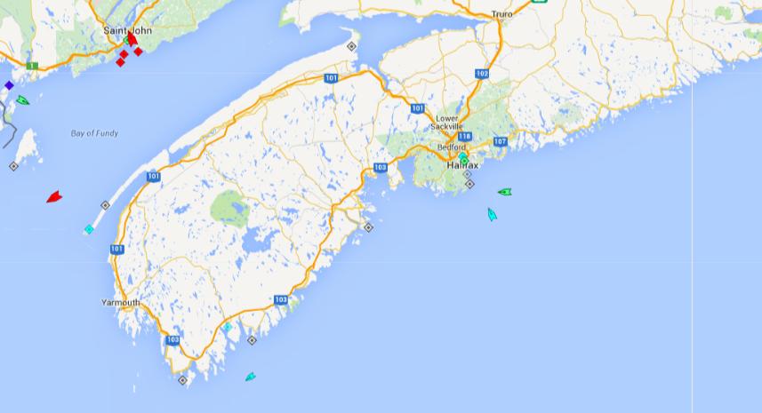 The seas around Nova Scotia, 5:45am Thursday. Map: marinetraffic.com