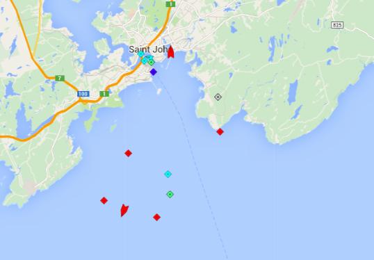 Oil tankers servicing the Saint John refinery. Map: marinetraffic.com