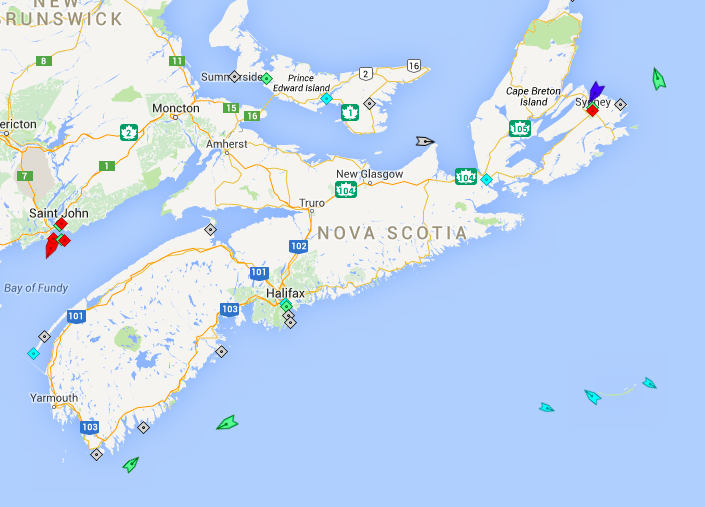 The seas around Nova Scotia, 6:30am Friday. Note the oil tankers (red) at Saint John,  the vessels servicing the offshore oil platforms near Sable Island (sky blue), the MV Blue Puttees ferry (dark blue) in Sydney before heading to Port aux Basques, Newfoundland, and three passing cargo ships (light green) skirting Nova Scotia for other destinations. Map: marinetraffic.com