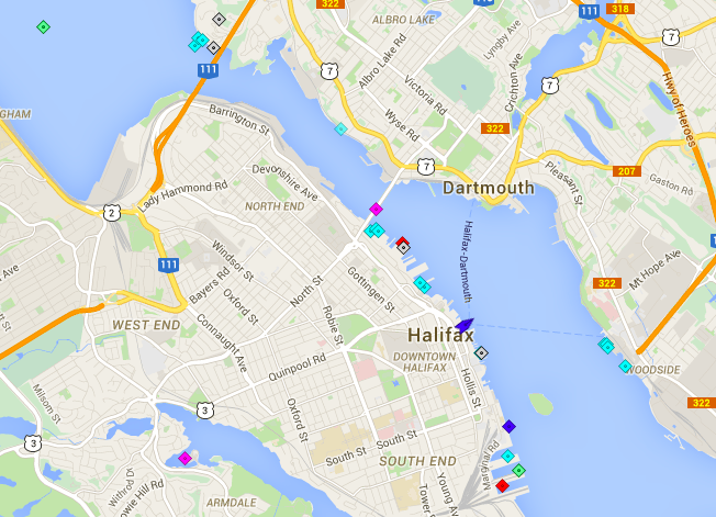 A slow day in the harbour, as most ship remain pierside or at anchor. Map:marinetraffic.com