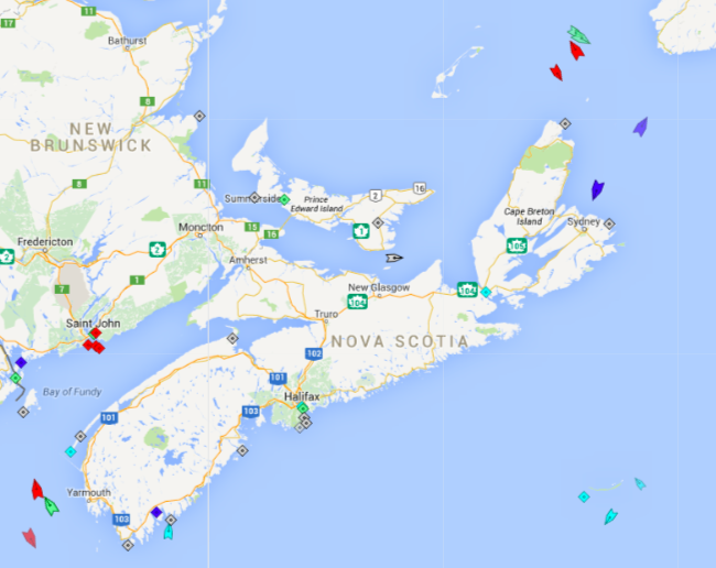 The seas around Nova Scotia, 5:30am Monday. Map: marinetraffic.com