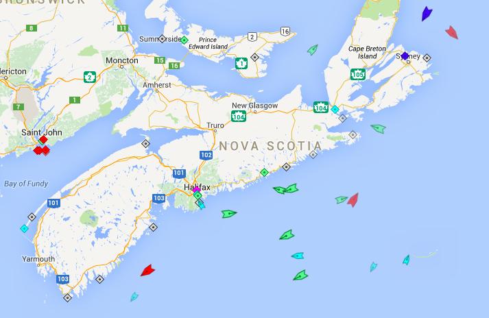 The seas around Nova Scotia, 4:30am Tuesday. Map: marinetraffic.com