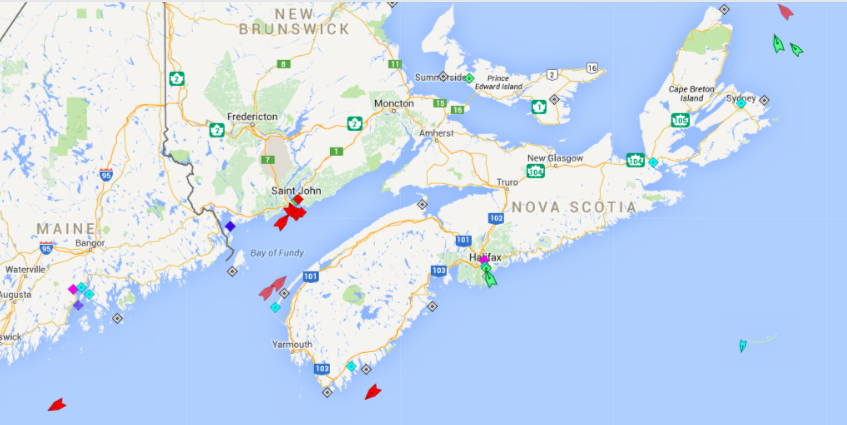 The seas around Nova Scotia, 6am Wednesday. Shipping continues to be dominated by oil tankers (depicted in red) servicing the Irving refinery in Saint John. There is one tanker at the refinery itself, four at anchor in the Saint John Harbour, two in the Bay of Fundy heading to Saint John, one (the Acadian) passing Shelburne en route to Saint John, and another (the Cape Beale) on its way to Portsmouth from Saint John.