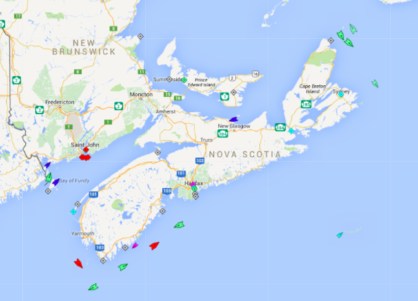 The seas around Nova Scotia, 7:45am Friday. All the ships indicated are bypassing Nova Scotia ports. Map:  marinetraffic.com