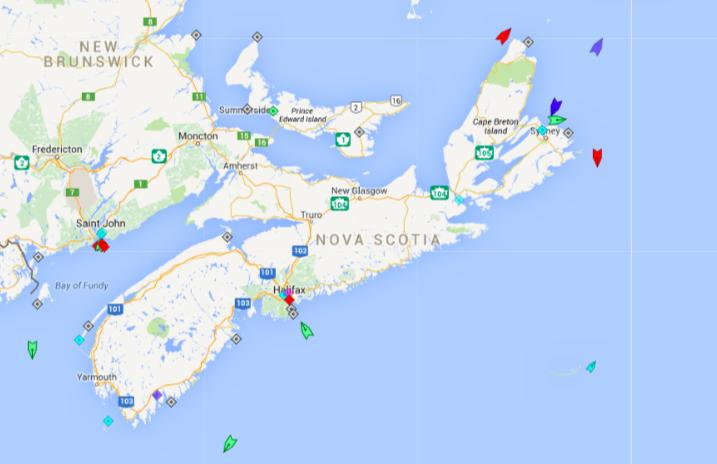 The seas around Nova Scotia, 6am Monday. Map: marinetraffic.ca