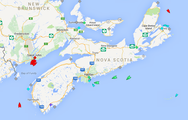 The seas around Nova Scotia, 6am Monday. Note the heavy tanker traffic around Saint John. Approaching Halifax Harbour are Faust and Oceanex Sanderling, followed by Federal Hunter, a bulk carrier bypassing Nova Scotia en route to Texas from Quebec. Map: marinetraffic.com