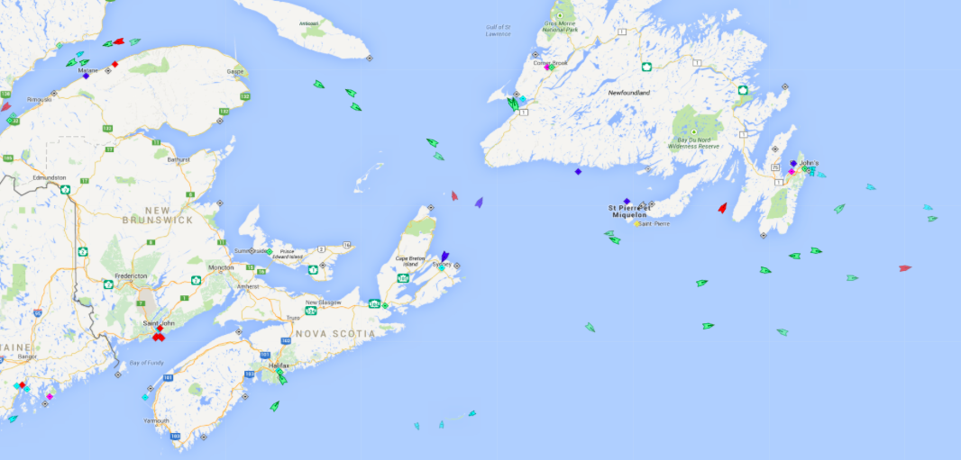 The seas of Atlantic Canada, 6:30am Wednesday. Map: marinetraffic.com