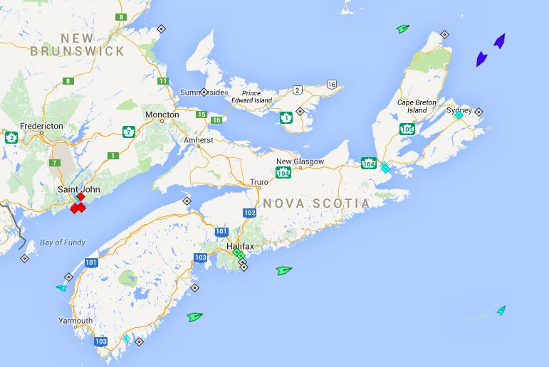 The seas around Nova Scotia, 4am Thursday. Map: marinetraffic.com