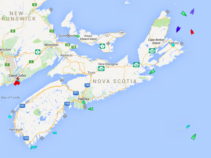 The seas off Nova Scotia, 6am Frida. Map: marinetraffic.com
