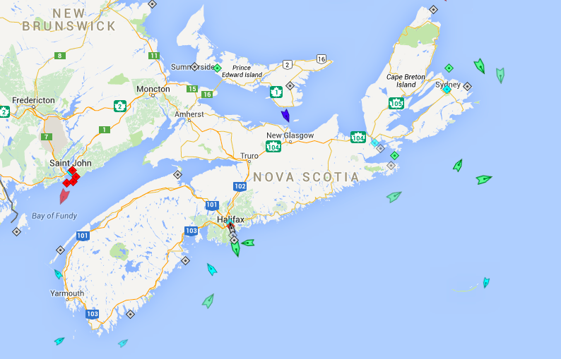 The seas around Nova Scotia, 7:30am Saturday. Map: marinetraffic.com