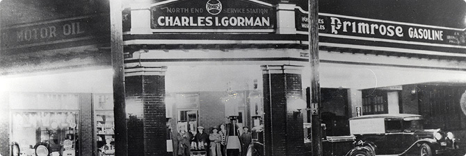 Speed skater Charles Gorman started this gas station in Saint John. It was one of the first Irving stations.