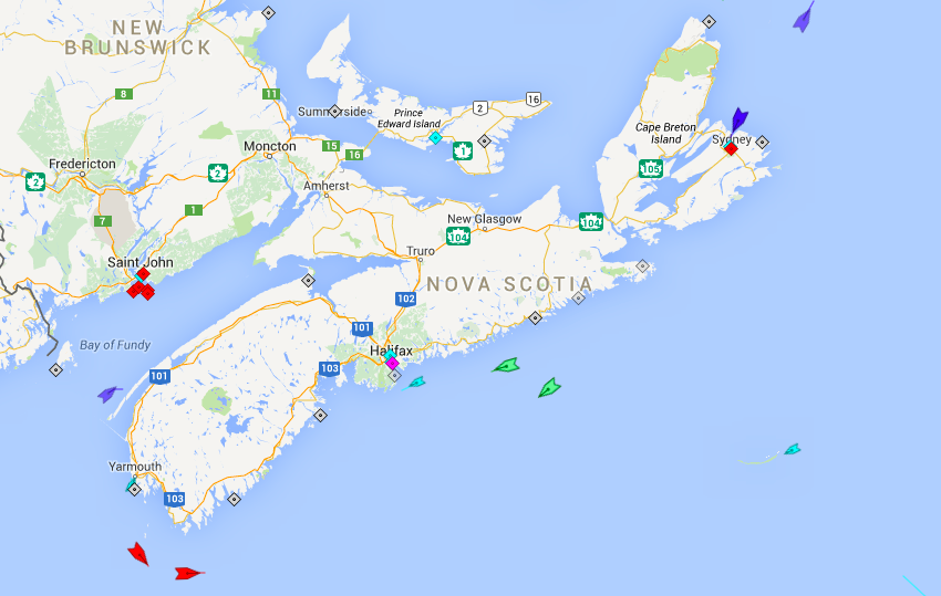 The seas around Nova Scotia, 6am Tuesday. Note the arrival of the Blue Star Ithaki, the new ferry for the Saint John–Digby route, the blue ship making its way up the Bay of Fundy. Map: marinetraffic.com